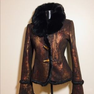 Jackets & Blazers - Stunning Bronze Jacket with natural Rabbit collar!